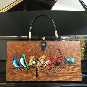 "Vintage 1966 Enid Collins Box Bag ""FOR THE BIRDS"""